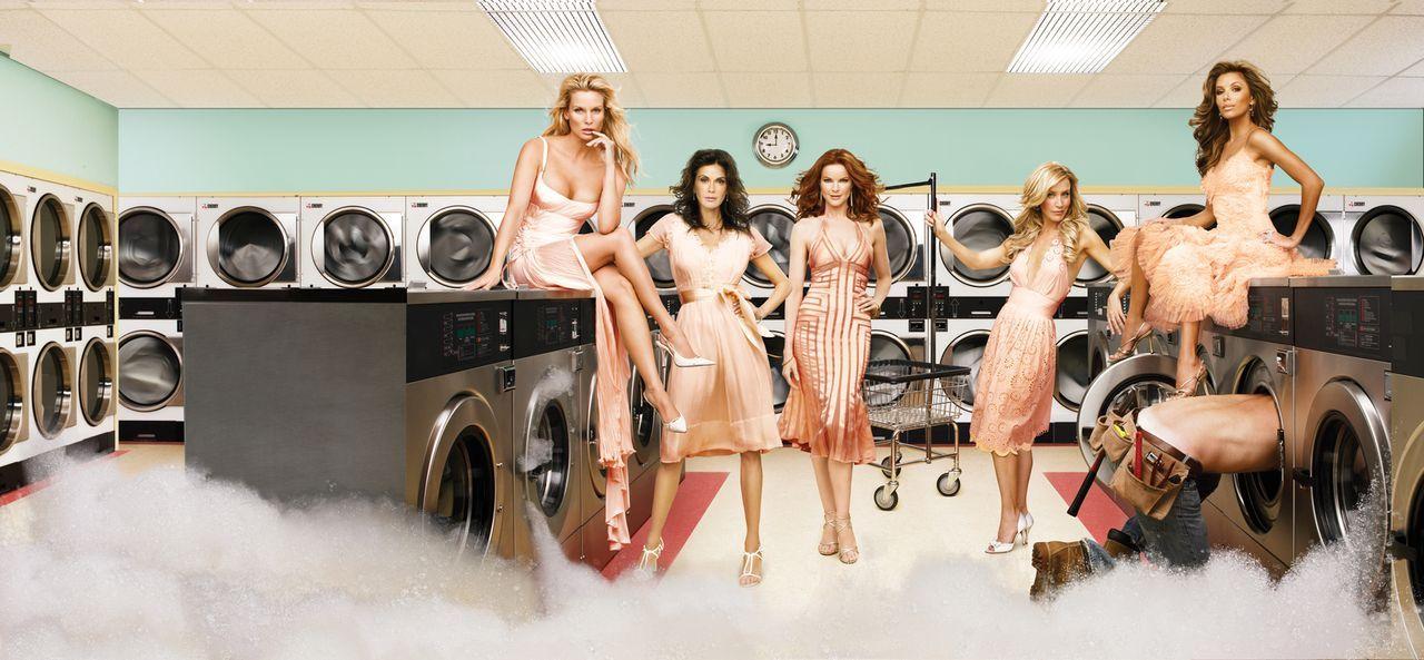 (3. Staffel) - Waschen schmutzige Wäsche: Lynette Scavo (Felicity Huffman, 2.v.r.), Bree Van De Kamp (Marcia Cross, M.), Gabrielle Solis (Eva Longor... - Bildquelle: 2005 Touchstone Television  All Rights Reserved