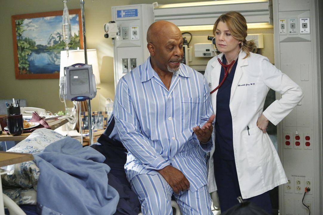 Dr. Webbers (James Pickens Jr., l.) Gesundheitszustand lässt zu wünschen übrig. Nicht nur Meredith (Ellen Pompeo, r.) sorgt sich um den Chefarzt ...... - Bildquelle: ABC Studios
