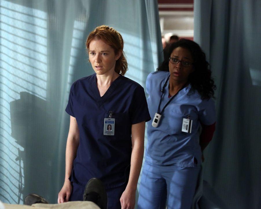 Kurz nachdem April (Sarah Drew, l.) ihre Gefühle Jackson gegenüber offenbart hat, platzt Stephanie (Jerrika Hinton, r.) dazuwischen ... - Bildquelle: ABC Studios