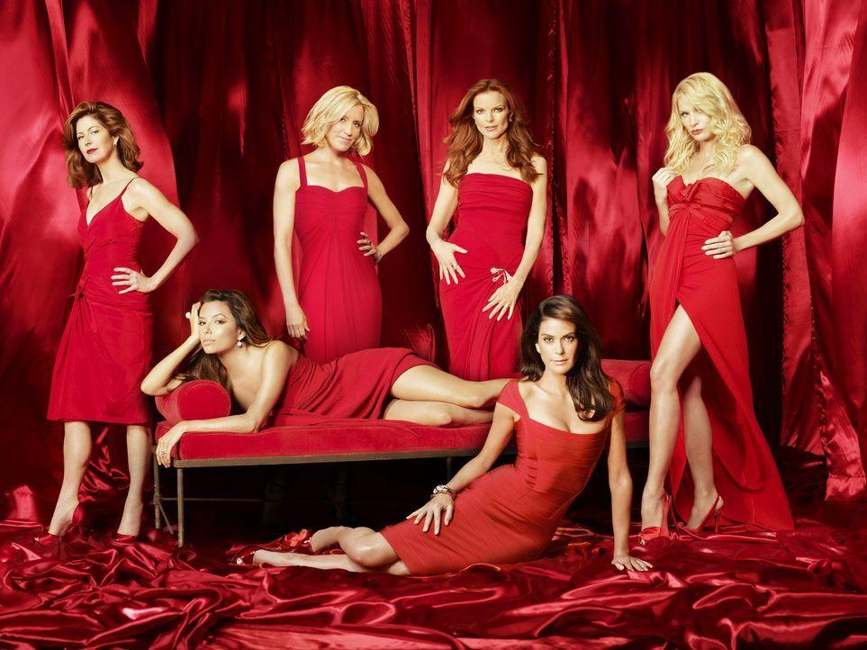 (5. Staffel) - Intrigen und Dramen bei den verzweifelten Hausfrauen: Lynette (Felicity Huffman, 3.v.l.), Bree (Marcia Cross, 3.v.r.), Gabrielle (Eva... - Bildquelle: ABC Studios