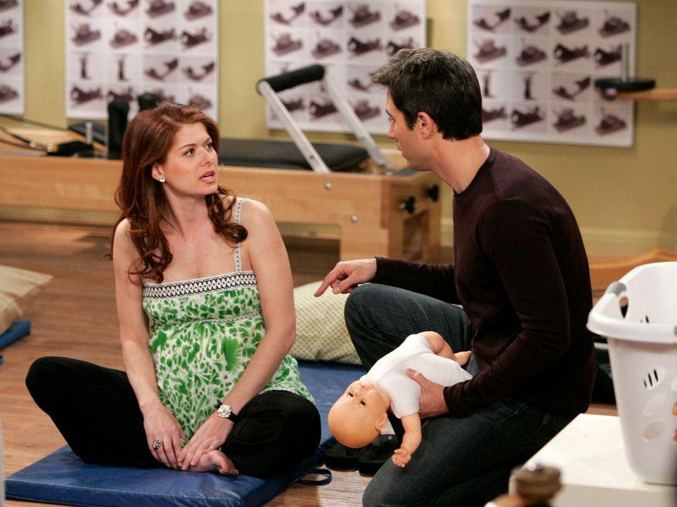 Grace (Debra Messing, l.) schiebt langsam Panik wegen des Babys. Will (Eric McCormack, r.) begleitet sie zwar nach wie vor zum Geburtsvorbereitungsk... - Bildquelle: Chris Haston NBC Productions