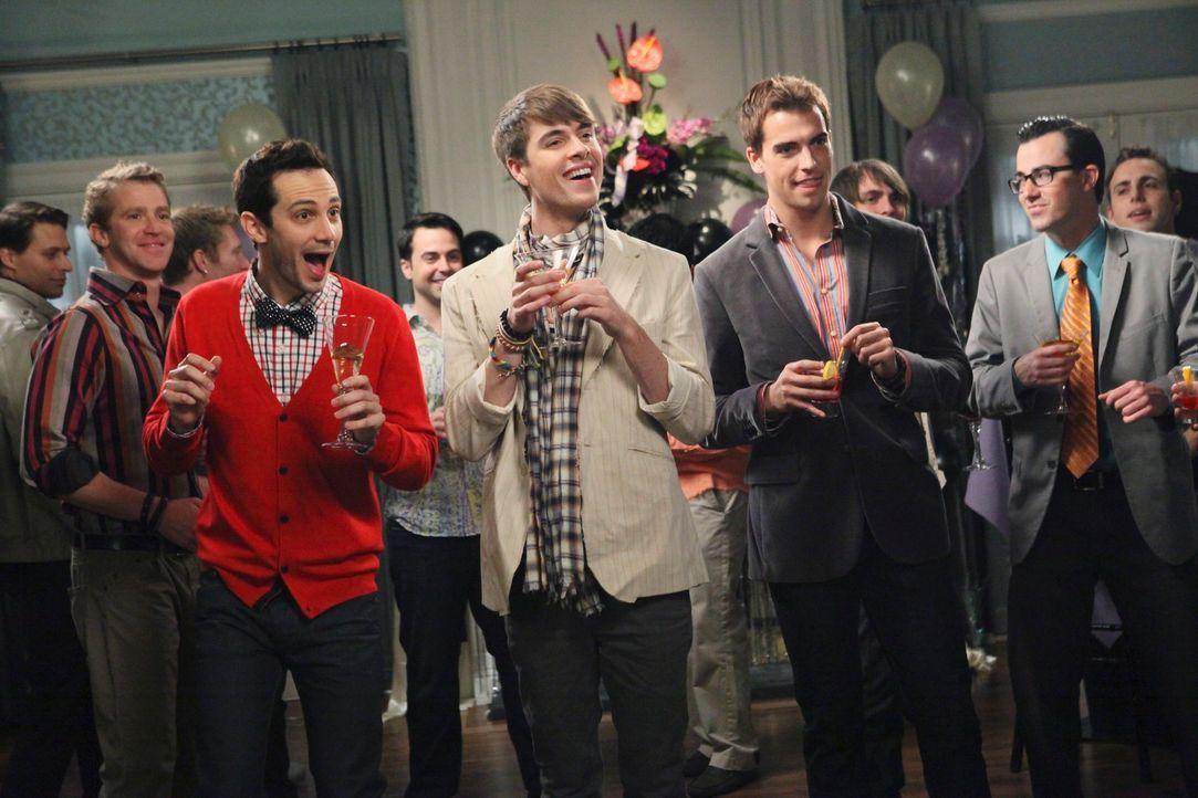Ganz besondere Gäste auf Andrews Überraschungs-Verlobungs-Party: Brian (Jeffery Self, 2.v.l.) und Bryan (Ian Jensen, l.)  ... - Bildquelle: ABC Studios