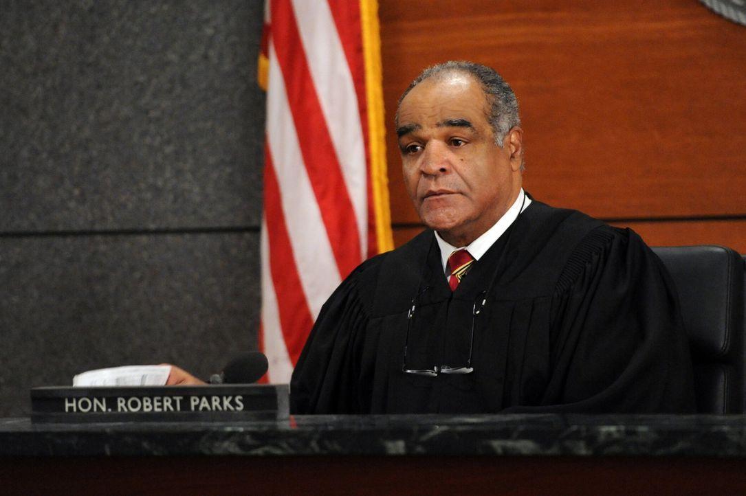Ausgerechnet bei einem heiklen Thema wird die Verhandlung von Richter Parks (David Fonteno) von einer Gruppe Hackern überrollt ... - Bildquelle: David M. Russell 2013 CBS Broadcasting, Inc. All Rights Reserved