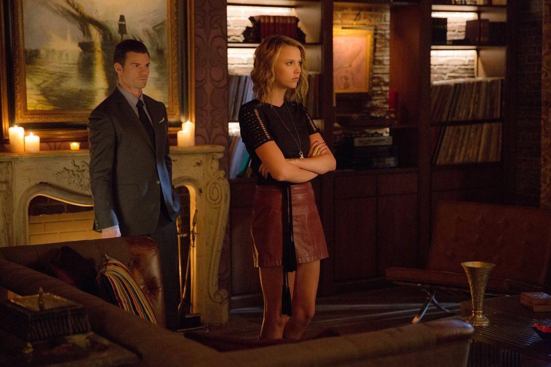 Nachdem Elijah (Daniel Gillies, l.) seiner Schwester offenbart hat, dass Rebecca nicht auf der Flucht ist sondern in einen Sarg liegt, wird Freya (R... - Bildquelle: Warner Bros. Entertainment, Inc.