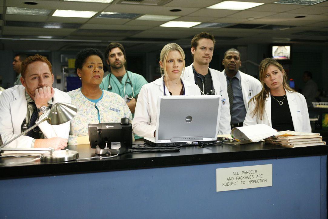 Können nicht glauben, dass Dr. Weaver das Krankenhaus verlassen wird: (v.l.n.r.) Morris (Scott Grimes), Haleh (Yvette Freeman), Tony (John Stamos),... - Bildquelle: Warner Bros. Television