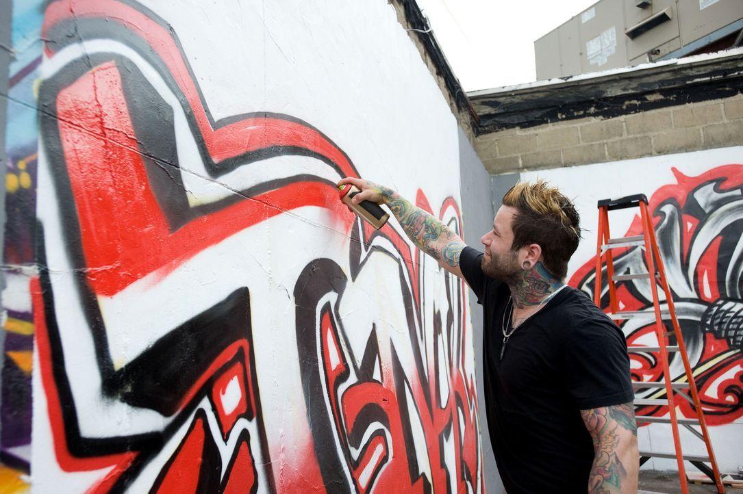 Wie wird Josh Woods' Graffitikunstwerk der Jury gefallen? - Bildquelle: Fernando Leon Spike TV