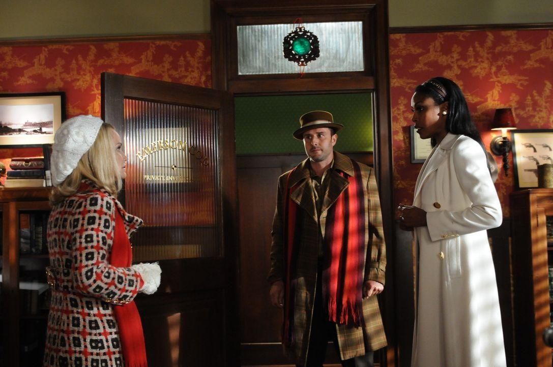 """Olive (Kristin Chenoweth, l.) hat sich frisch verliebt, in Randy Mann (David Arquette, M.), den ehemaligen Kunden der Agentur """"My Best Friend, Inc.""""... - Bildquelle: Warner Brothers"""