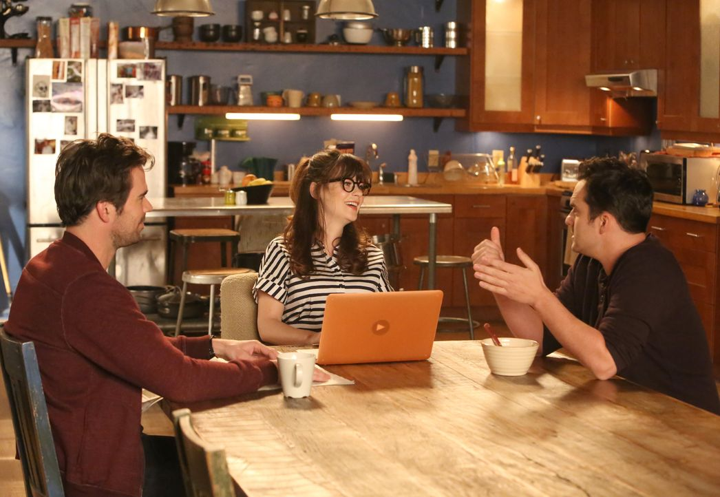 Sam (David Walton, l.) und Nick (Jake Johnson, r.) geraten ständig aneinander, sehr zum Leidwesen von Jess (Zooey Deschanel, M.) ... - Bildquelle: Patrick McElhenney 2016 Fox and its related entities. All rights reserved. / Patrick McElhenney