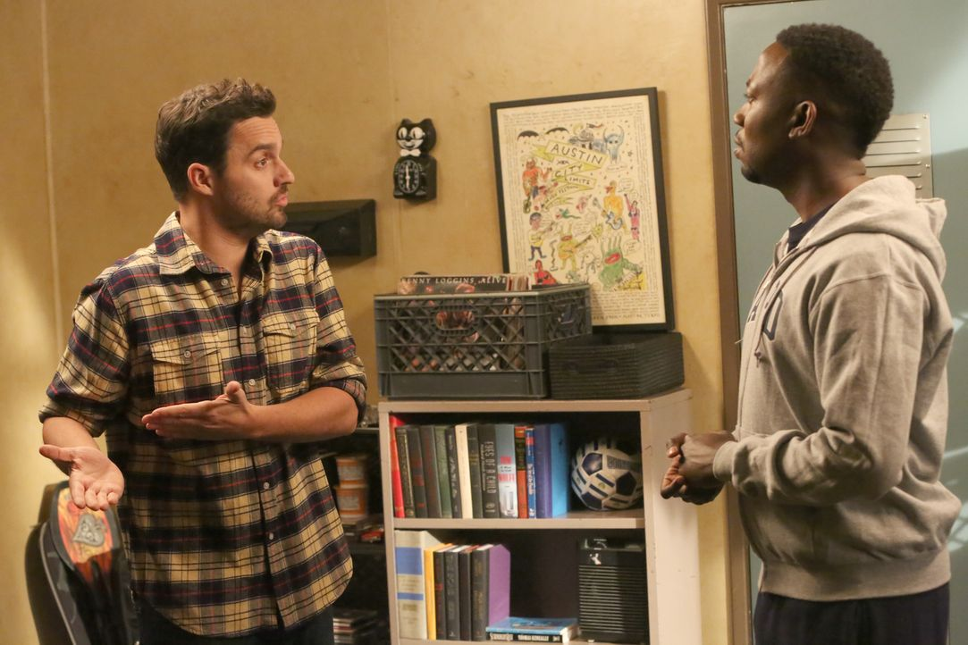Reagan stellt Nick (Jake Johnson, l.) und Winston (Lamorne Morris, r.) eine Aufgabe, die sie unmöglich lösen können, obwohl sie es beide unbedingt w... - Bildquelle: Patrick McElhenney 2016 Fox and its related entities.  All rights reserved.