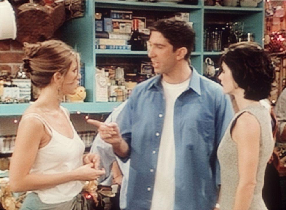 Ross (David Schwimmer, M.) muss sich von Rachel (Jennifer Aniston, l.) und Monica (Courteney Cox, r.) anhören, dass er nie was praktisches zustande... - Bildquelle: TM+  2000 WARNER BROS.