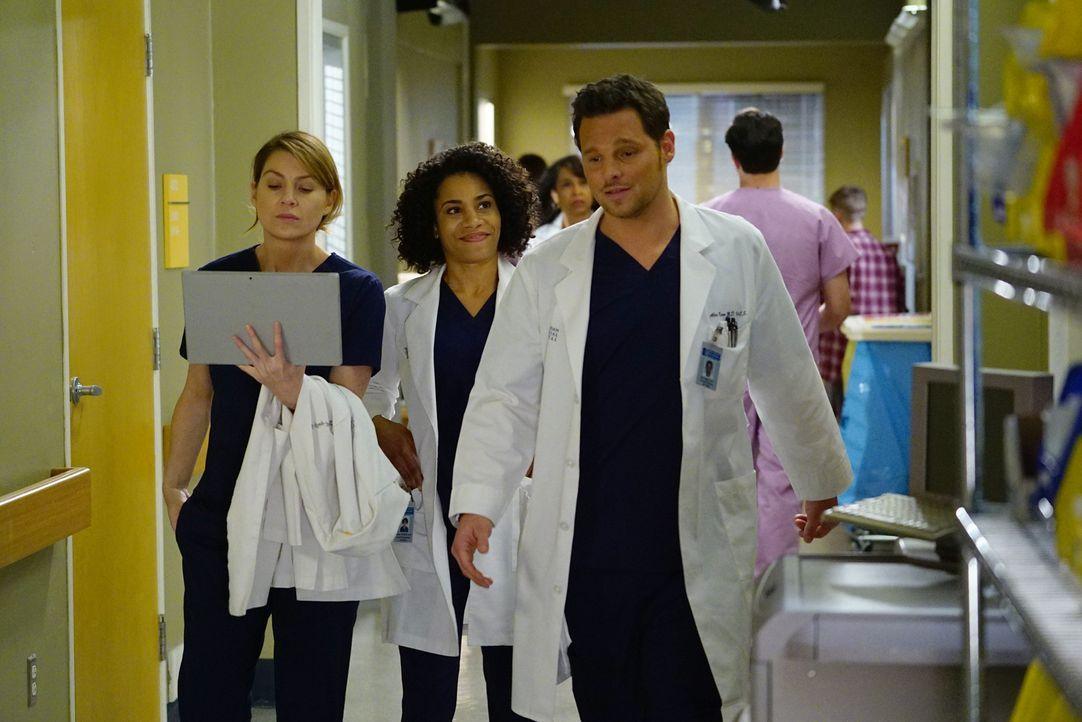 Haben einen anstrengenden Tag vor sich: Meredith (Ellen Pompeo, l.), Maggie (Kelly McCreary, M.) und Alex (Justin Chambers, r.) ... - Bildquelle: Richard Cartwright ABC Studios