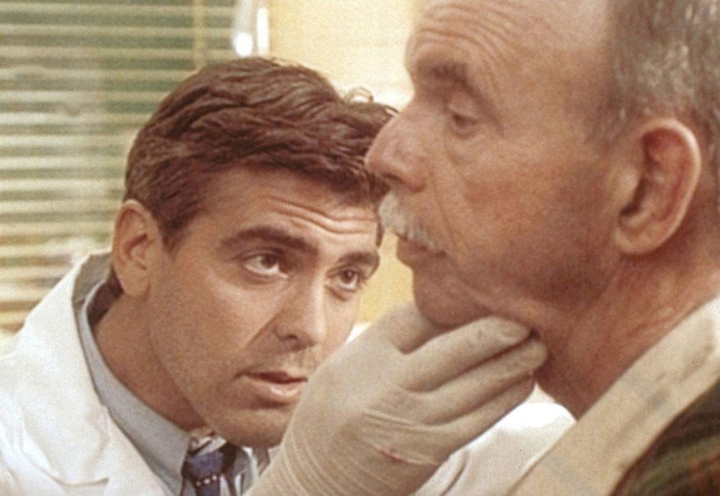Dr. Ross (George Clooney, l.) verarztet den Tierschützer Francis, der von einem Truthahn angegriffen wurde. - Bildquelle: TM+  WARNER BROS.
