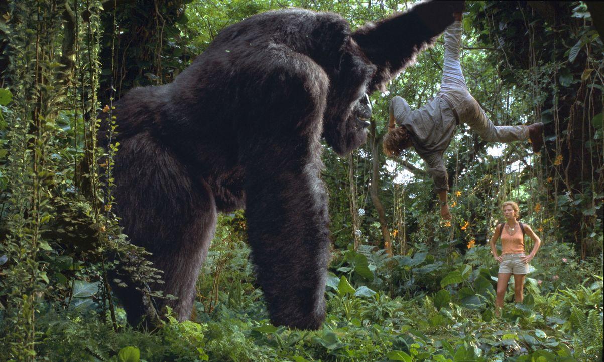 Mitten im turbulenten L.A. läuft der sanftmütige Gorilla Joe nach einem Unfall Amok ... Jill (Charlize Theron, r.) und Gorilla Joe sind seit ihrer... - Bildquelle: Ron Batzdorff Disney Enterprises Inc.