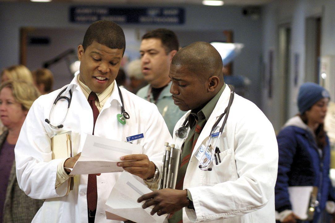 Sind um das Wohl ihrer Patienten besorgt: Medizinstudent Michael Gallant (Sharif Atkins, l.) und Dr. Gregory Pratt (Mekhi Phifer, r.) - Bildquelle: TM+  2000 WARNER BROS.