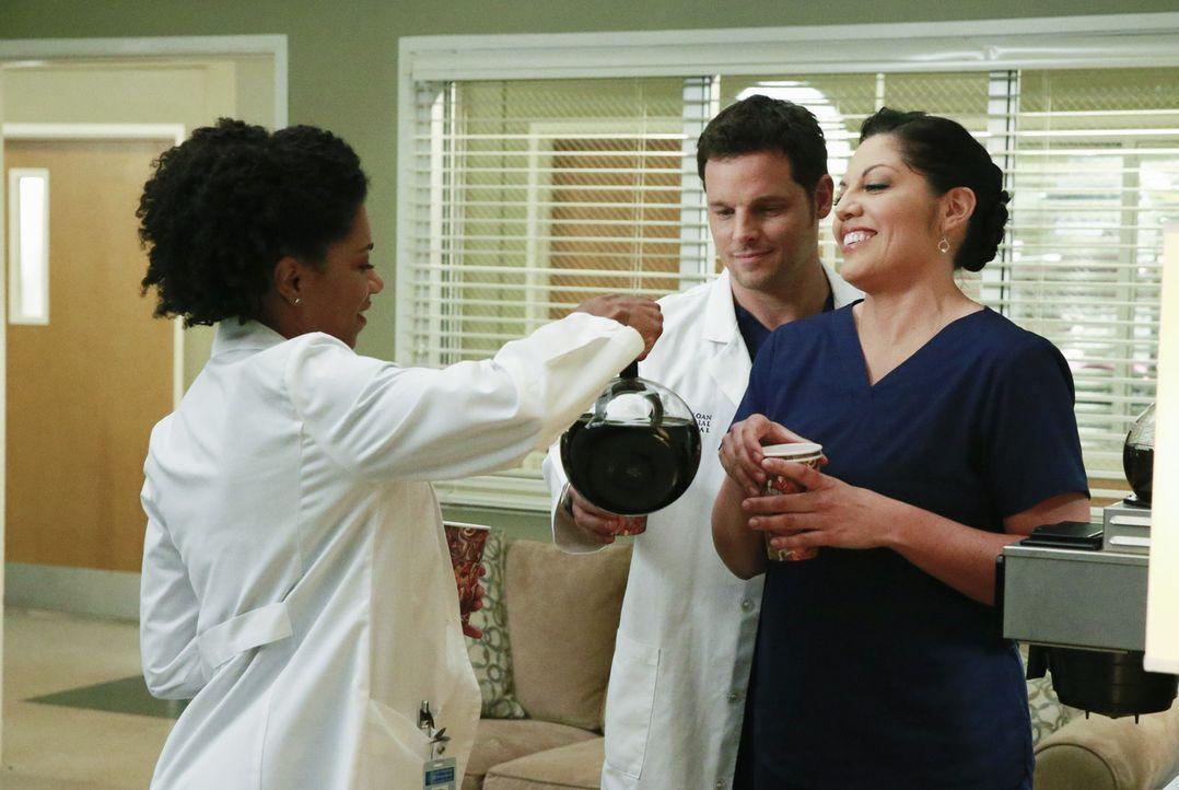 Ahnen noch nicht, mit welch schrecklicher Nachricht Meredith gleich zu ihnen kommen wird: Alex (Justin Chambers, M.), Callie (Sara Ramirez, r.) und... - Bildquelle: ABC Studios