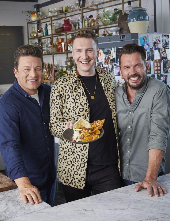 (v.l.n.r.) Jamie Oliver; Joe Lycett; Jimmy Doherty - Bildquelle: Steve Ryan 2019 Jamie Oliver Enterprises Ltd. / Steve Ryan