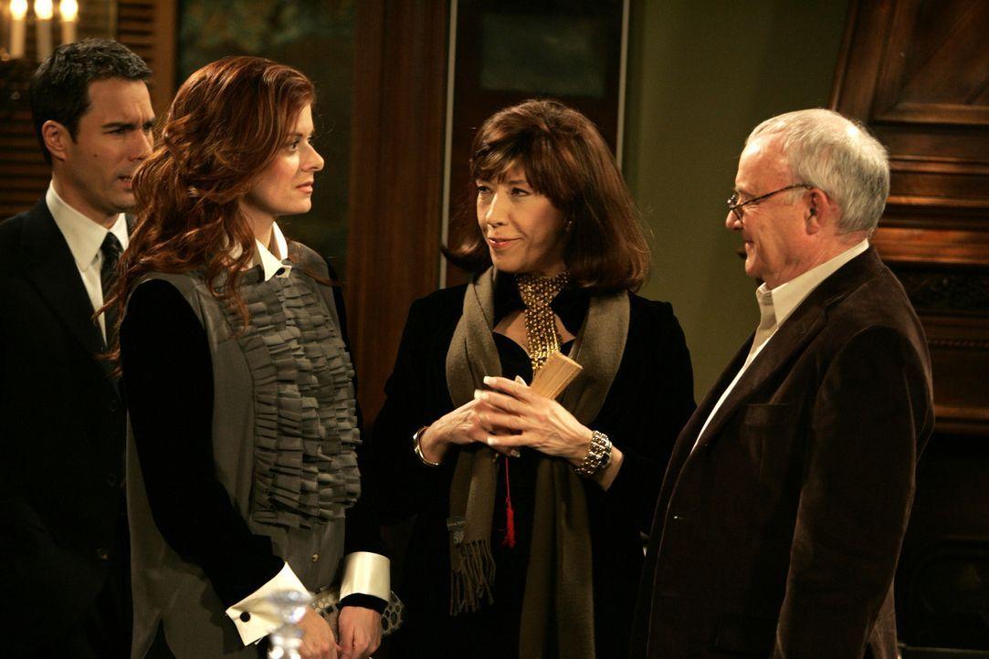 Bei einem Abendessen treffen Will (Eric McCormack, l.), Grace (Debra Messing, 2.v.l.), Margot (Lily Tomlin, 2.v.r.) und Leonard (Buck Henry, r.) auf... - Bildquelle: Chris Haston NBC Productions