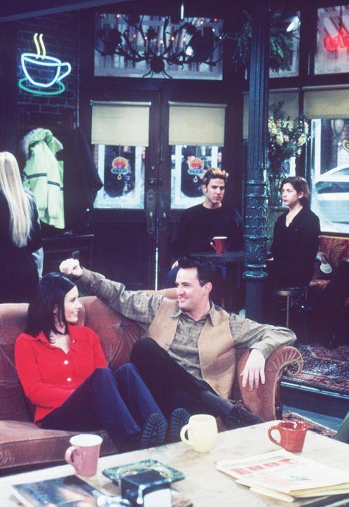 Monica (Courteney Cox, l.) und Chandler (Matthew Perry, r.) verbringen einen romantischen Abend miteinander ... - Bildquelle: TM+  2000 WARNER BROS.