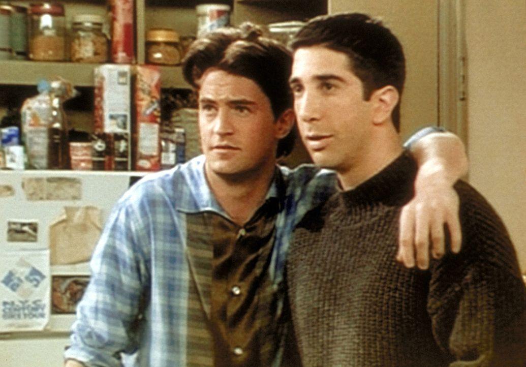 Chandler (Matthew Perry, l.) malt mit Ross (David Schwimmer, r.) die rosigen Zeiten seines zukünftigen Zusammenlebens mit Rachel aus. - Bildquelle: TM+  2000 WARNER BROS.
