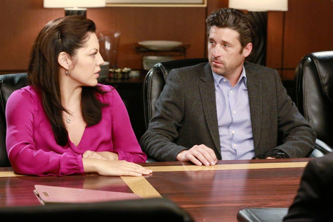 Müssen sich mit der rechtlichen Situation der Fluglinie auseinandersetzen: Callie (Sara Ramirez, l.) und Derek (Patrick Dempsey, r.) ... - Bildquelle: ABC Studios