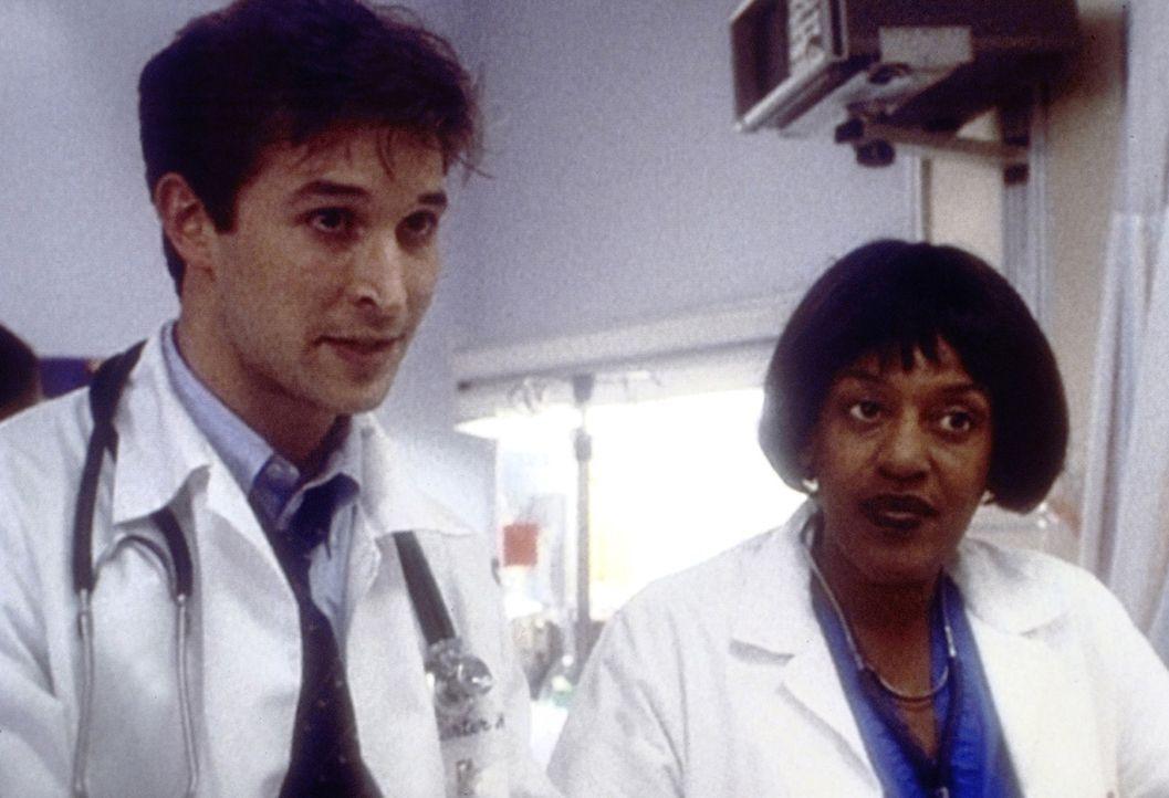 Tag für Tag nehmen Dr. Carter (Noah Wyle, l.) und Hicks (C. C. H. Pounder, r.) den aufreibenden Kampf gegen den Tod auf ... - Bildquelle: TM+  2000 WARNER BROS.