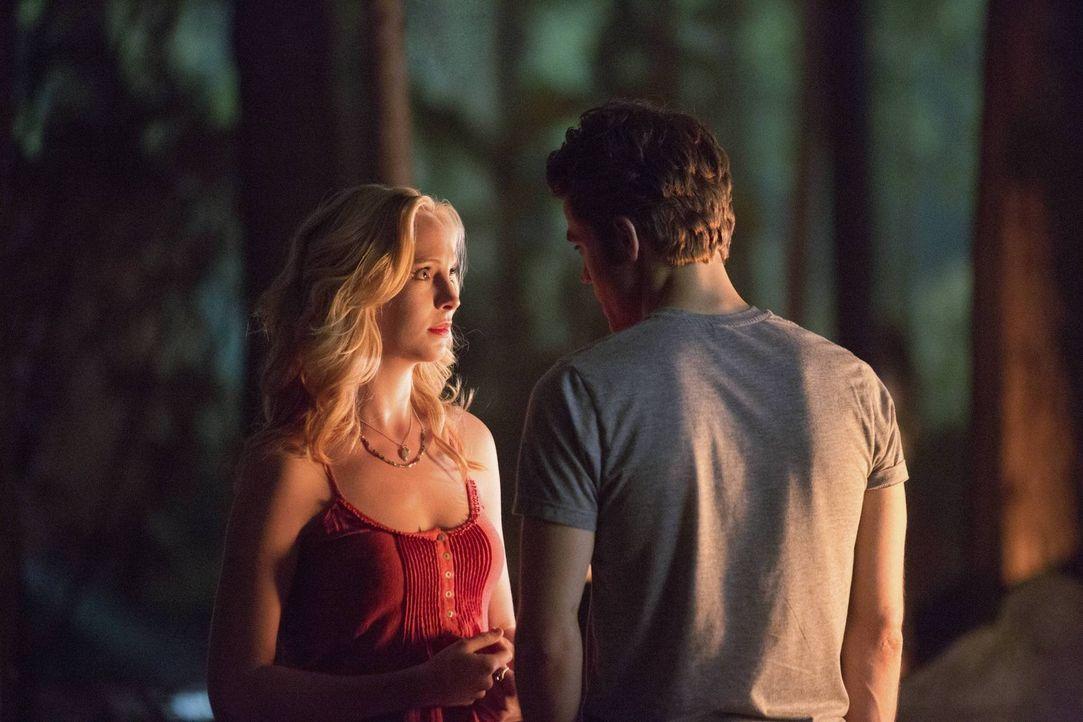 Als Stefan (Paul Wesley, r.) überraschend auftaucht, bleibt die Begegnung zwischen ihm und Caroline (Candice Accola, l.) nicht ohne Folgen ... - Bildquelle: Warner Brothers