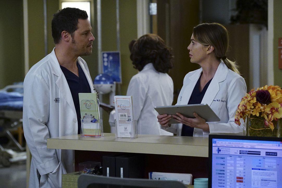 Während sich Amelia ihren Gefühlen gegenüber Owen stellt, sitzt Meredith (Ellen Pompeo, r.) zwischen den Stühlen, als Nathan und Alex (Justin Chambe... - Bildquelle: Richard Cartwright 2016 American Broadcasting Companies, Inc. All rights reserved.