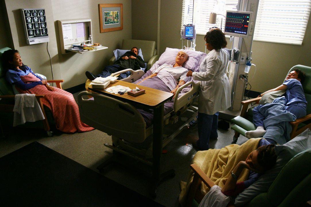 Nach der OP liegt Izzie (Katherine Heigl, 3.v.l.) im Koma. Als sie endlich aufwacht, sind Cristina (Sandra Oh, l.), Alex (Justin Chambers, 2.v.l.),... - Bildquelle: Touchstone Television