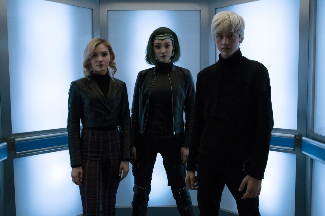 (v.l.n.r.) Esme Frost (Skyler Samuels); Polaris (Emma Dumont); Andy Strucker (Percy Hynes White) - Bildquelle: Steve Dietl 2019 Fox and its related entities.  All rights reserved.  MARVEL TM &   2017 MARVEL
