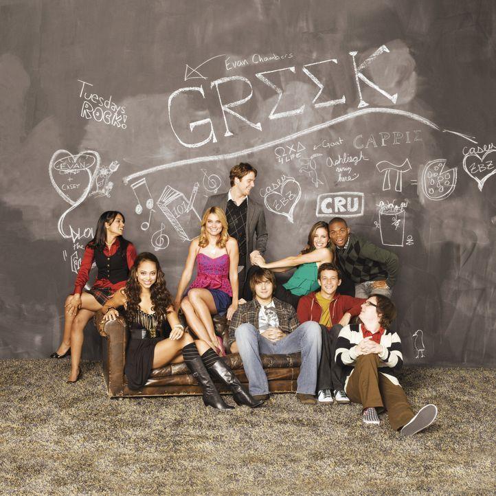(3. Staffel) - Genießen ihr Studentenleben: Rebecca (Dilshad Vadsaria, l.), Casey (Spencer Grammer, 3.v.l.), Evan (Jake McDorman, 4.v.l.), Rusty (Ja... - Bildquelle: 2008 ABC Family