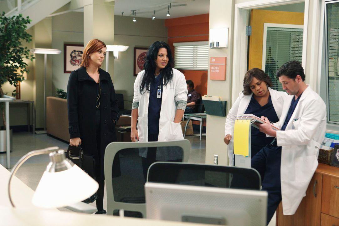 Während Owen Teddys Intention in Frage stellt, treffen Derek (Patrick Dempsey, r.), Callie (Sara Ramirez, 2.v.l.) und Bailey (Chandra Wilson, 2.v.r.... - Bildquelle: Touchstone Television