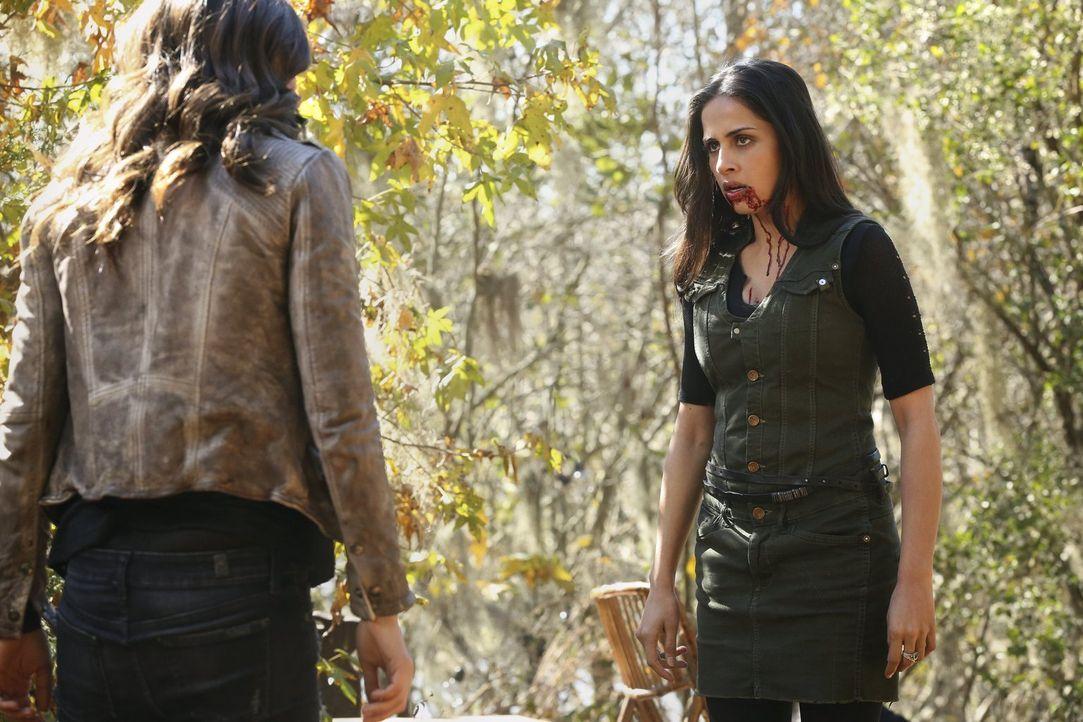 Ausgehungert und verwirrt werden Gia (Nishi Munshi) und die anderen Vampire im Wald ausgesetzt - im Gebiet der Werwölfe ... - Bildquelle: Warner Bros. Entertainment, Inc