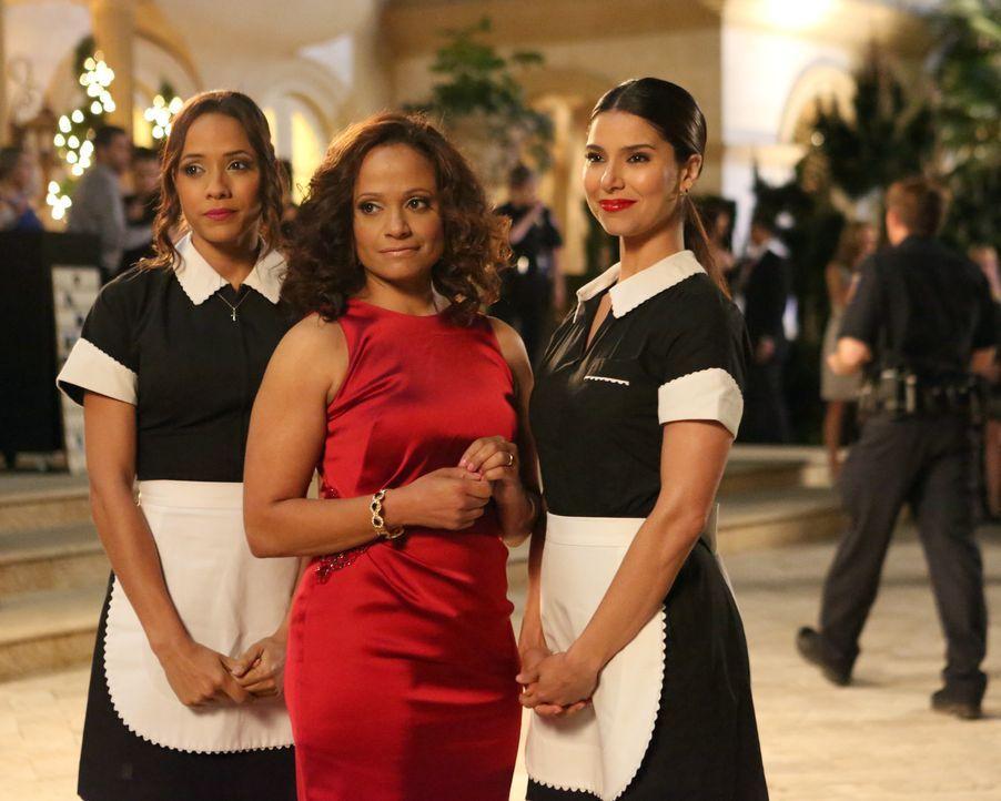 Auf der großen Verlobungsfeier wollen Marisol Rosie (Dania Ramirez, l.), Carmen (Roselyn Sanchez, r.) und Zoila (Judy Reyes, M.) Philippe eine Falle... - Bildquelle: ABC Studios