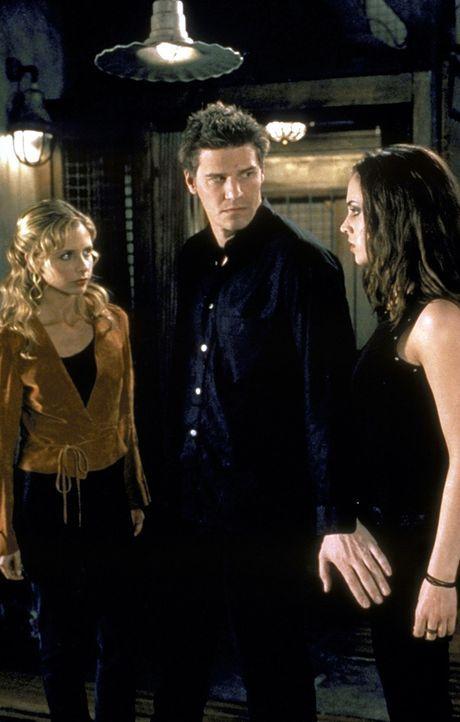 Angel (David Boreanaz, M.) muss sich zwischen die beiden Erzrivalinnen Buffy (Sarah Michelle Gellar, l.) und Faith (Eliza Dushku, r.) stellen. - Bildquelle: TM +   2000 Twentieth Century Fox Film Corporation. All Rights Reserved.